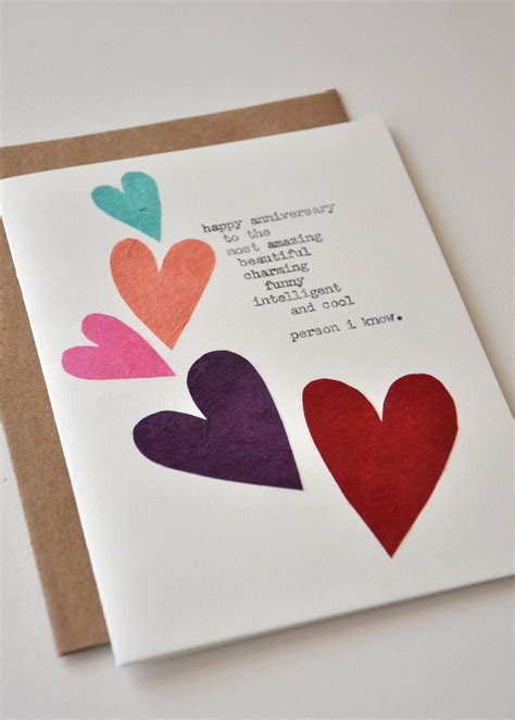 handmade hearts birthday card for boyfriend or husband