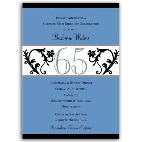 65th birthday invitation wording 2 vine blue 65th birthday milestone invitations paperstyle