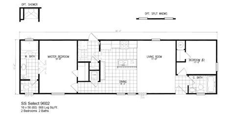 Oak Creek Homes Floor Plans Model Ss Select 9602 16x56 2bedroom 2bath Oak Creek Mobile