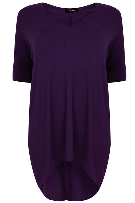 purple top with cross front dipped hem