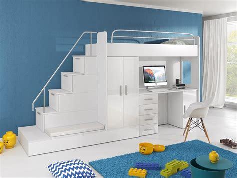 Hochbett Mit Stufen Treppe by Hochbett Tomi Mit Schreibtisch Schrank Und Regal M 246 Bel