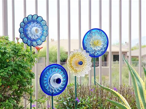 Sale Garden Art Upcycled Recycled Glass Plate Flower Emily Glass Plate Garden Flowers