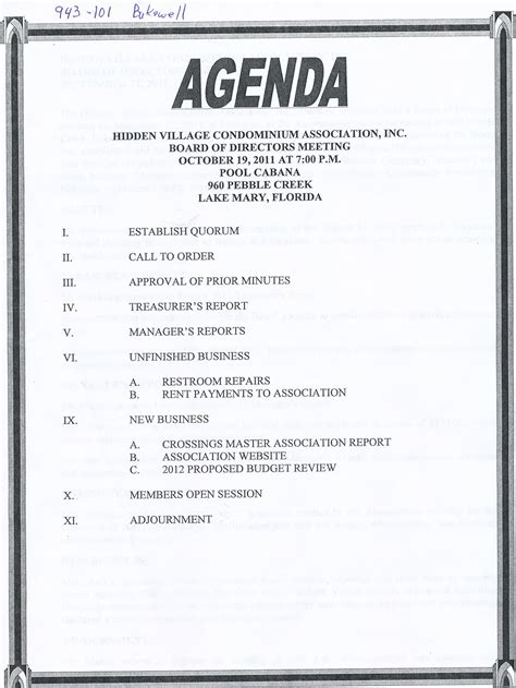 business meeting agenda template sle 2 best agenda