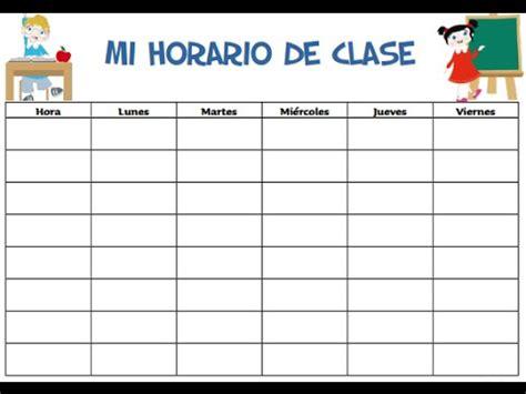 horario de clases para imprimir horarios de clases para escuela primaria formatos para