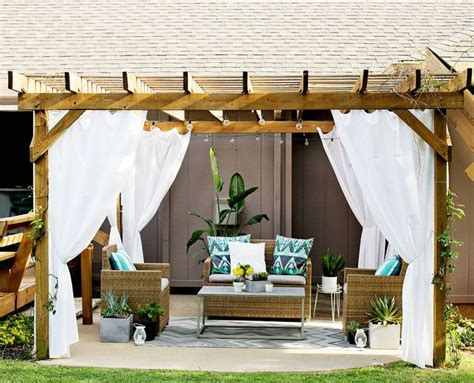 Pergola With Curtains Outdoor Pergola Curtains Outside Ideas Diy Pinterest
