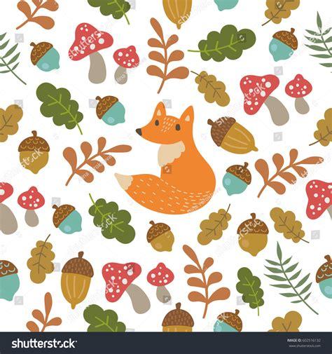 cute fox on leaf and acorn pattern mousepads zazzle seamless vector pattern cute fox acorn stock vector