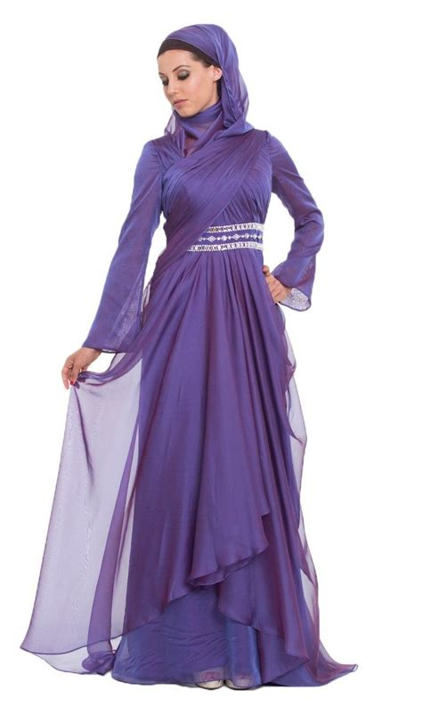 Longdress Arab michel purple silk chiffon islamic formal dress with