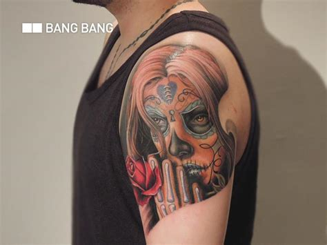 lettering tattoo by bang bang shoulder mexican skull by nyc