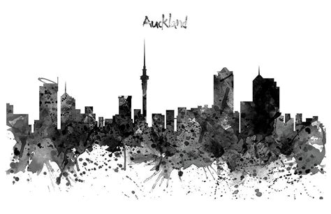 Auckland Skyline Outline by Auckland Black And White Watercolor Skyline Digital By Marian Voicu