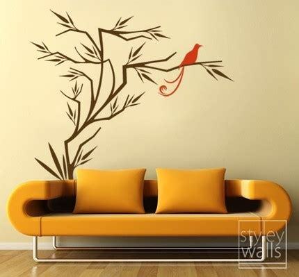 japanese wall sticker wall designs japanese wall bird on branch