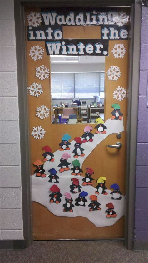 school door christmas decorating ideas waddle into winter bulletin board winter and bulletin board