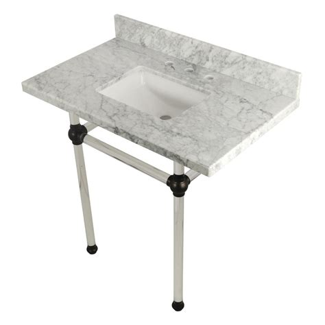 carrara marble console sink kingston brass square sink washstand 36 in console table