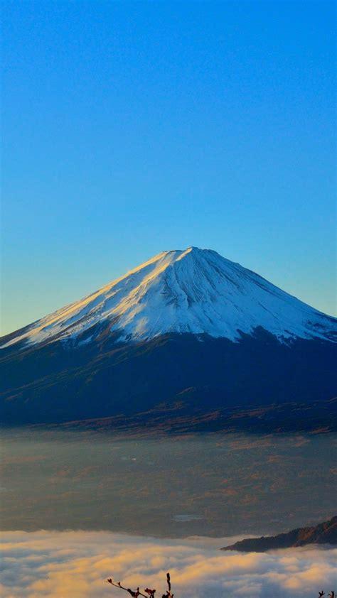 wallpaper volcano fuji japan mountains fog  nature
