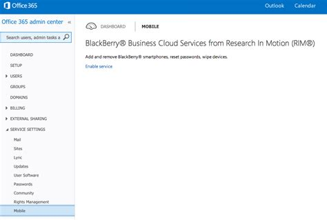 Office 365 Outlook Blackberry Setup Enable Blackberry Business Cloud Services Office 365