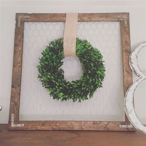 decorating ideas for wire wreaths frames farmhouse wood frame with preserved boxwood wreath chicken wire burlap and wreaths