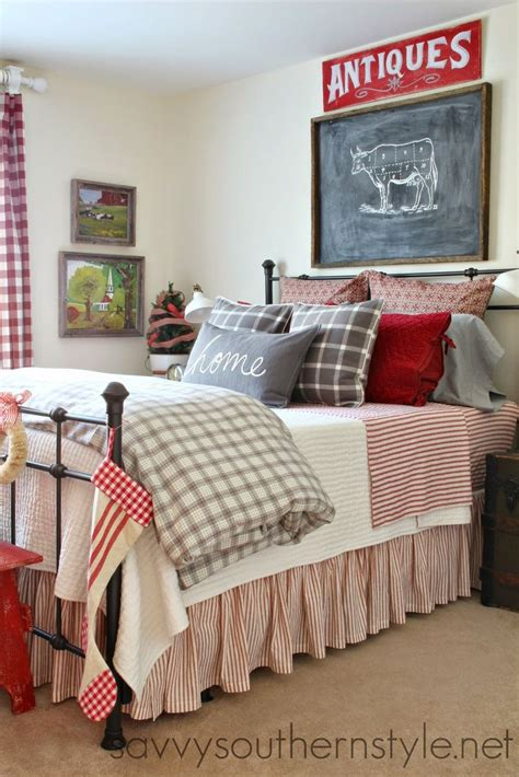 farmhouse style bedding guest room farmhouse style red gray flannel buffalo