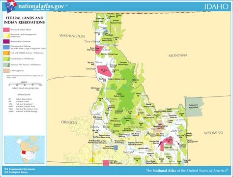 indian reservations usa map map of idaho map federal lands and indian reservations
