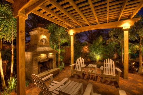 fireplace with pergola tropical patio ta by
