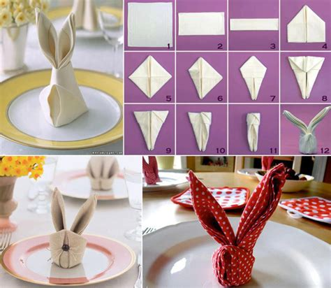 Easter Paper Napkin Folding - how to fold a napkin into a bunny our home sweet home