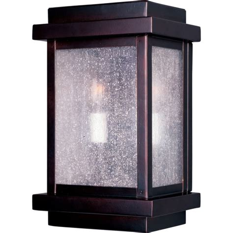 Outdoor Wall Light With Outlet Cubes 2 Light 11 Quot Burnished Outdoor Wall Mount With Seedy Glass Wall Lights Outdoor Lighting