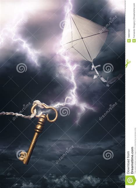 By A by Kite Getting Struck By A Bolt Of Lightning Stock Image