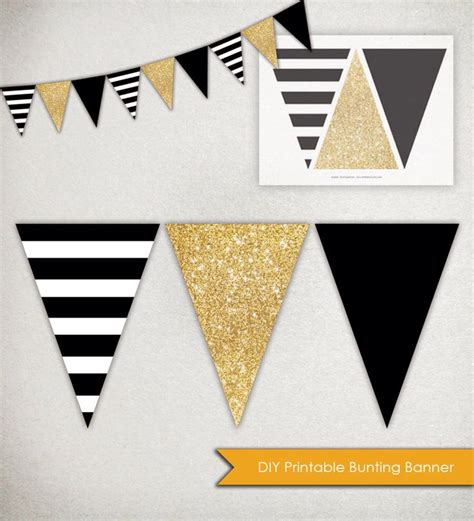 printable birthday banner black and white instant download sparkle banner printable triangle