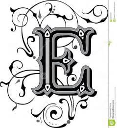 Schöne aufwändige englische Alphabete, Buchstabe E, Grayscale. H Alphabet Designs