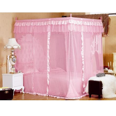 pink canopy curtains bedroom 4 corner post mosquito net bed canopy curtain pink
