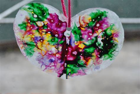 valentine s day craft wax paper crayon hearts