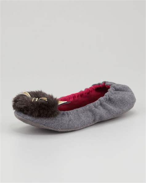 kate spade cat slippers kate spade flannel scrunch cat slipper in gray grey lyst