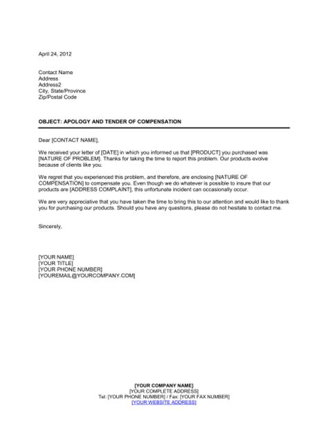 Apology Letter To Customer Compensation Apology And Tender Of Compensation Template Sle Form Biztree