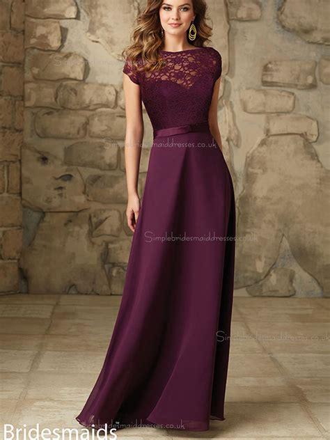 Floor Length Dresses Uk by Beautiful Grape Chiffon Floor Length Beading Bridesmaid
