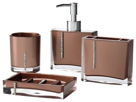brown bathroom accessories sets crystal 4 piece bathroom accessory set modern bathroom
