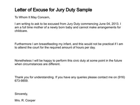 Letter Excuse Jury Duty Employer Letter Of Excuse