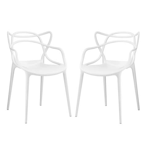 Molded Plastic Dining Chairs Set Of 2 Entangled Modern Shapely Molded Plastic Dining Chair Set White