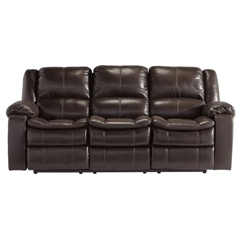 Ashley Long Knight Faux Leather Reclining Sofa In Brown Faux Leather Reclining Sofa