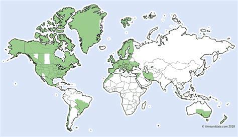 daylight savings map usa daylight saving time around the world 2018