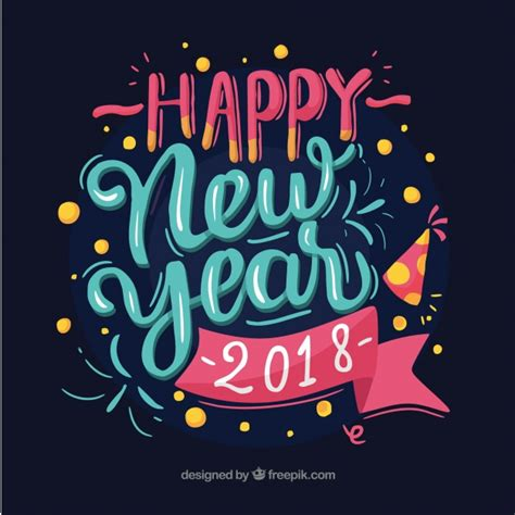new year 2018 vector happy new year 2018 in blue and pink letters vector free
