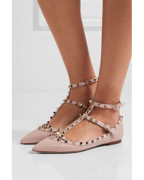 flat valentino shoes valentino rockstud textured leather point toe flats in
