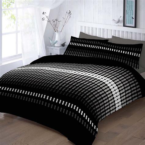Elliot Printed Black Duvet Quilt Cover Set Linens Range Elliot Printed Duvet Cover Bedding Set Single King King Ebay