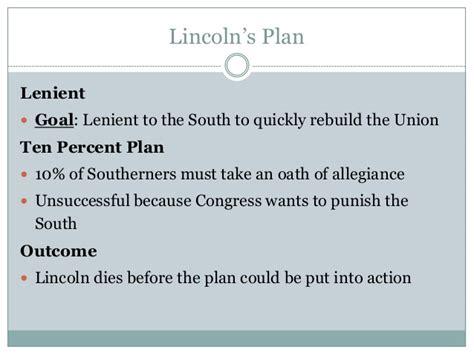 lincoln s 10 percent plan the politics of reconstruction