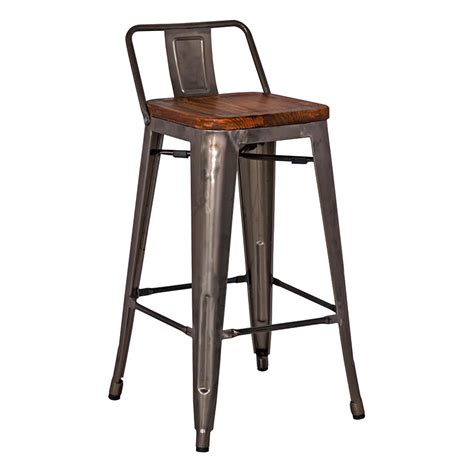 Low Back Metal Counter Stools metro modern low back gun metal counter stool eurway