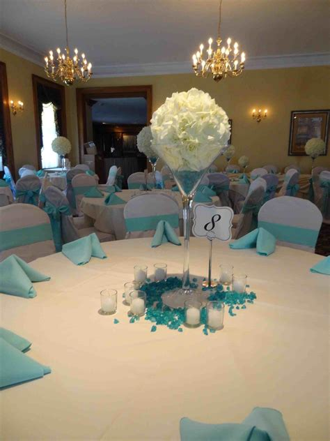 small cozy light blue and silver wedding decorations
