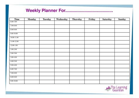 Free Printable Weekly Calendar Templates Weekly Planner For Time Monday Tuesday Wednesday Free Weekly Agenda Templates
