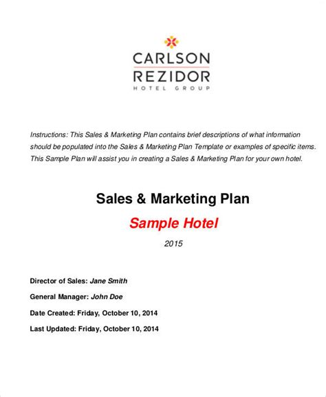 25 Marketing Plans In Pdf Sle Templates Hotel Sales Plan Template