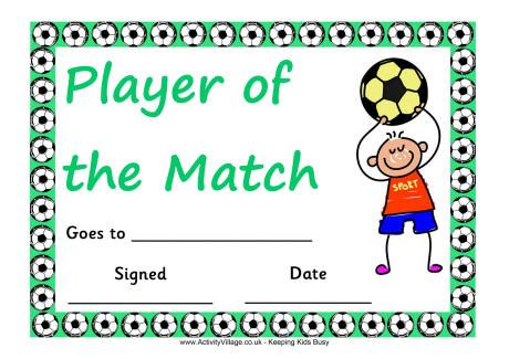 s day football player football certificate player of the match boy
