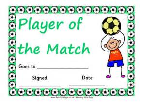 Of The Match Certificate Template football certificate player of the match boy