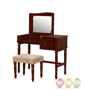 Bedroom Vanity Mirror Sets Wyndham Walnut Bedroom Vanity Set With Flip Top Mirror