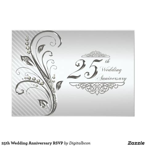25th wedding anniversary rsvp card 25 wedding