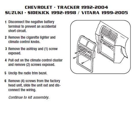 chevrolet trackerinstallation instructions